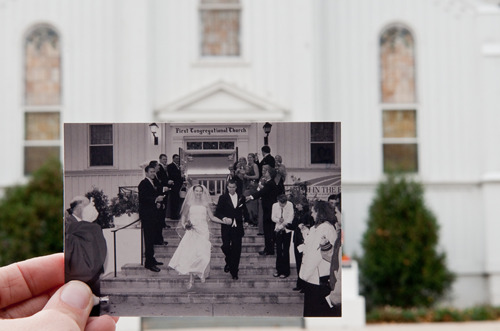 married couple on the church steps